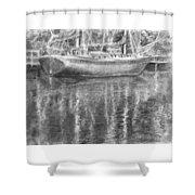 Boat Reflection Shower Curtain