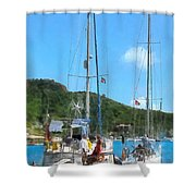 Boat - Relaxing At The Dock Shower Curtain