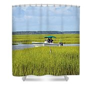 Boat Ride In The Marsh Shower Curtain