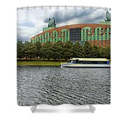 Boat Ride Past The Swan Resort Walt Disney World Shower Curtain