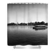 Boat Ride World Showcase Lagoon In Black And White Walt Disney World Shower Curtain