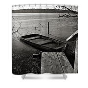 Boat In Ice - Lake Wingra - Madison - Wi Shower Curtain