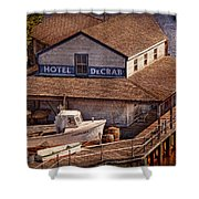 Boat - Tuckerton Seaport - Hotel Decrab  Shower Curtain by Mike Savad