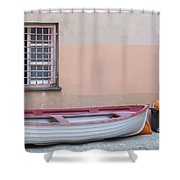 Boat Under A Window Shower Curtain