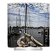 Boat Under The Clouds Shower Curtain