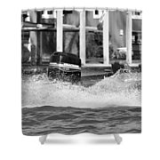 Boat Wake Black And White Shower Curtain