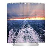 Boat Wake On Georgian Bay  Shower Curtain