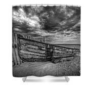 Boat Wreckage Bw Shower Curtain