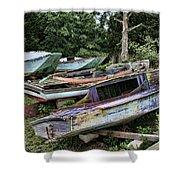 Boat Yard Shower Curtain by Heather Applegate