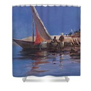 Boat Yard, Kilifi, 2012 Acrylic On Canvas Shower Curtain