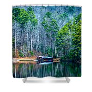 Boathouse On Pinnacle Lake Shower Curtain