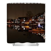 Boathouse Row All Lit Up Shower Curtain by Bill Cannon