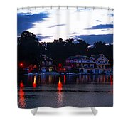 Boathouse Row Along The Schuylkill River At Dawn Shower Curtain