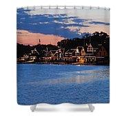 Boathouse Row Dusk Shower Curtain