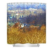 Boathouse Row Impasto Shower Curtain