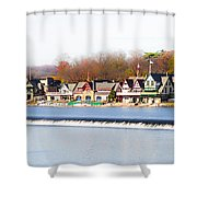 Boathouse Row In Autumn Shower Curtain