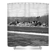 Boathouse Row Winter B/w Shower Curtain