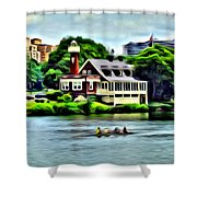 Boathouse Rowers On The Row Shower Curtain