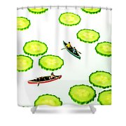 Boating Among Cucumber Slices Miniature Art Shower Curtain by Paul Ge