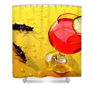 Boating Around A Red Cup Shower Curtain by Paul Ge