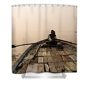 Boating At Sangam Shower Curtain