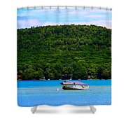 Boating At Sleeping Bear Dunes Lake Michigan Shower Curtain