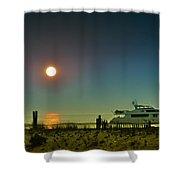 Boating At Sunrise Shower Curtain