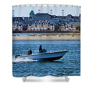 Boating In New York Harbor Shower Curtain by Dan Sproul