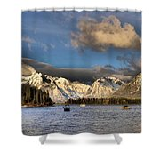 Boating In The Tetons Shower Curtain by Dan Sproul