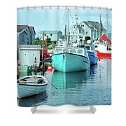 Boating In The Village Shower Curtain