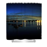 Boating - The Marina At Night Shower Curtain by Paul Ward