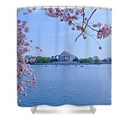 Boats Across The Basin Of Blossoms Shower Curtain