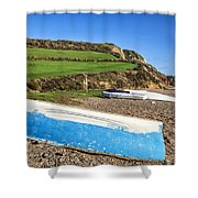 Boats Along Branscombe Beach Shower Curtain