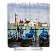 Boats Anchored At Marina Venice, Italy Shower Curtain