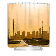 Boats And Skyscrapers Shower Curtain