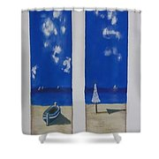 Boats And Umbrellas Shower Curtain