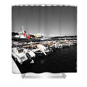 Boats At Brindisi Shower Curtain