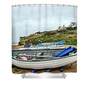 Boats At Burton Bradstock Shower Curtain