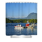Boats At Dock In Tofino Shower Curtain