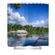 Boats At Dock On A Lake With Blue Sky Shower Curtain