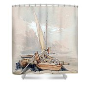 Boats At Quayside Lake Geneva Shower Curtain
