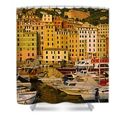 Boats At The Harbor, Camogli, Liguria Shower Curtain