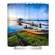 Boats At The Lake Shower Curtain