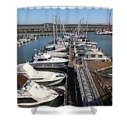 Boats At The San Francisco Pier 39 Docks 5d26005 Shower Curtain