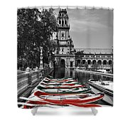 Boats By The Plaza De Espana Seville Shower Curtain by Mary Machare