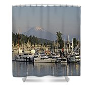 Boats Docked At A Harbor With Mountain Shower Curtain