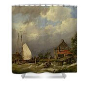 Boats Docking In An Estuary Shower Curtain