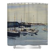 Boats In A Harbour Shower Curtain