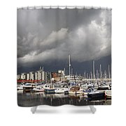 Boats In A Marina Shower Curtain