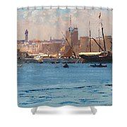 Boats In A Port Shower Curtain